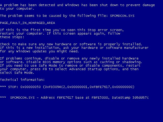 решение проблем с синим экраном